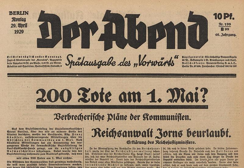 """Schlagzeile der """"Vorwärts""""-Abendausgabe vom 29.04.1929."""