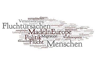 "Word Cloud ""Fluchtursachen Made in Europe"""