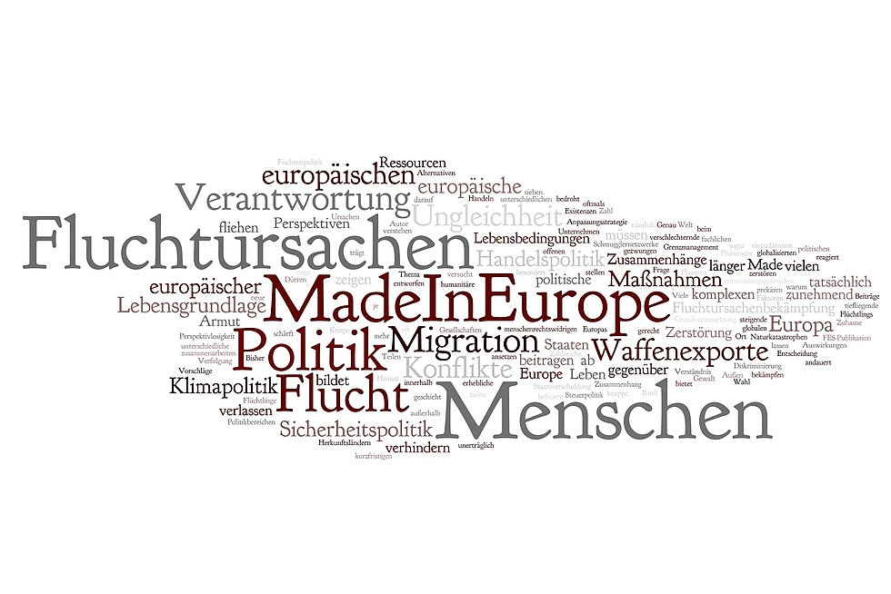 "Word Cloud ""Fluchtursachen Made in Europe"""