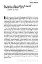 Die deutsche Außen- und Sicherheitspolitik nach der Intervention in Libyen