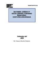 Dictamen jurídico y socio laboral convenio binacional Costa Rica - Nicaragua