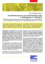 Gute Betreuung und gute Arbeitsbedingungen in Kindergärten in Thüringen?