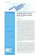 The responsibility to protext (RtoP) - an Asian perspective