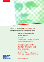 """Award ceremony for Adam Tooze for his book """"Crashed - how a decade of financial crises changed the world"""". Award ceremony for Harald Schumann and Elisa Simantke for their article """"Blackrock - a finance corporation on the path to global domination"""""""